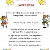 Junior Tennis Activity Week – 28th Jul-1st Aug