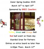 Breo Jewellers Junior Spring Doubles 2015