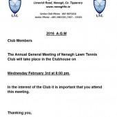 AGM Wednesday 4th Feb 8pm