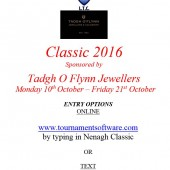 Tadgh O'Flynn Classic – Entry Deadline Mon 3rd October