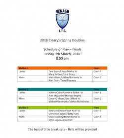 Cleary's Spring Doubles Finals Schedule of Play