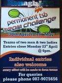 Permanent TSB Team Challenge April 30th – May 18th 2018