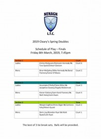 Cleary's Spring Doubles Finals 2019 Schedule of Play