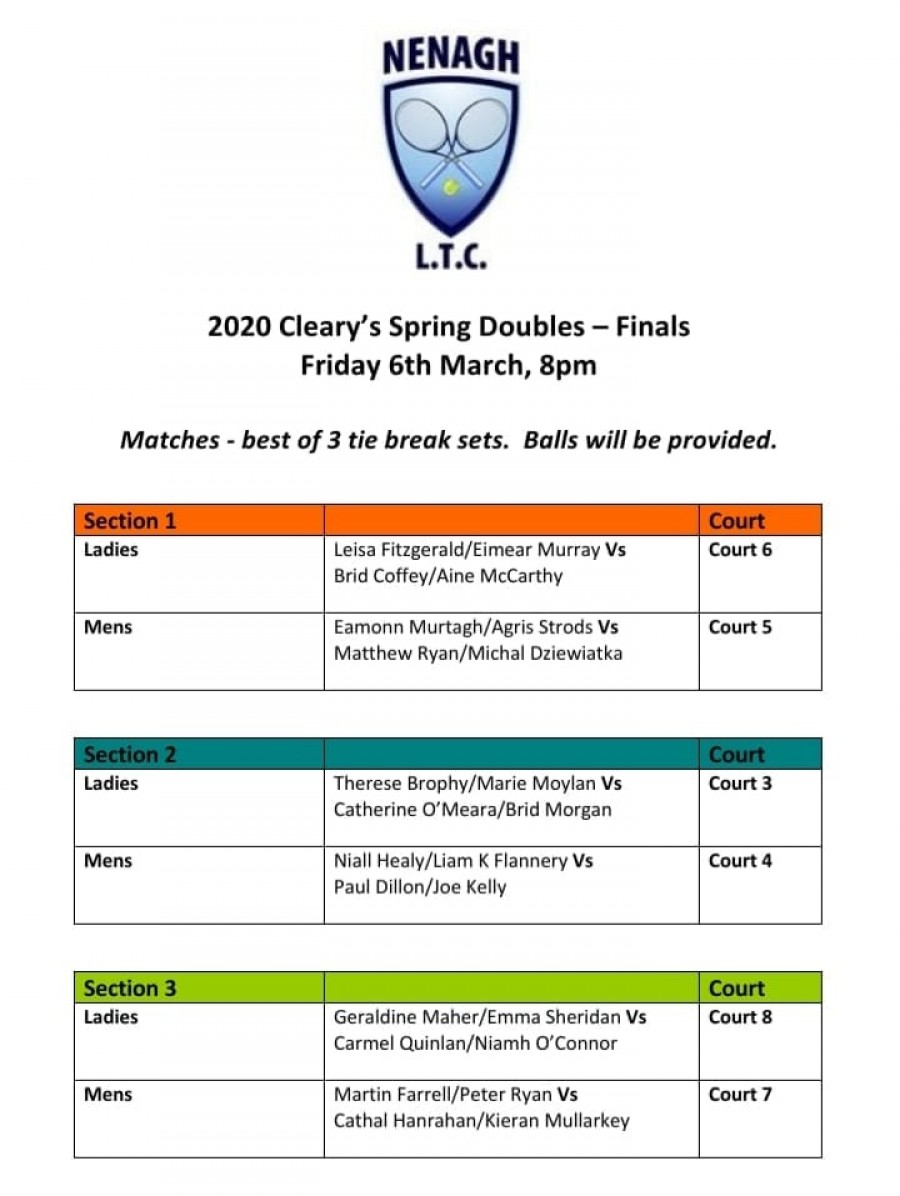 Cleary's Spring Doubles Finals 2020 Schedule of Play