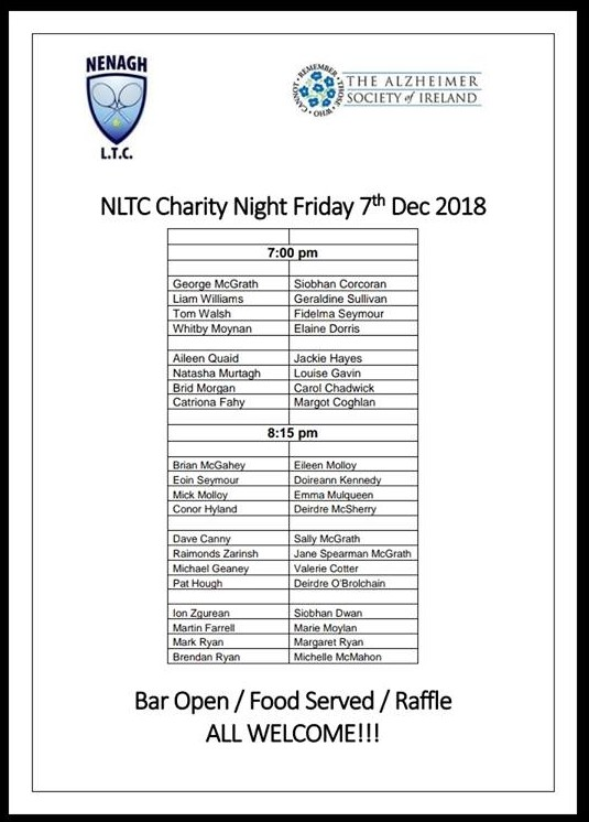 Charity Night Schedule of Play - Friday 8th Dec 2017