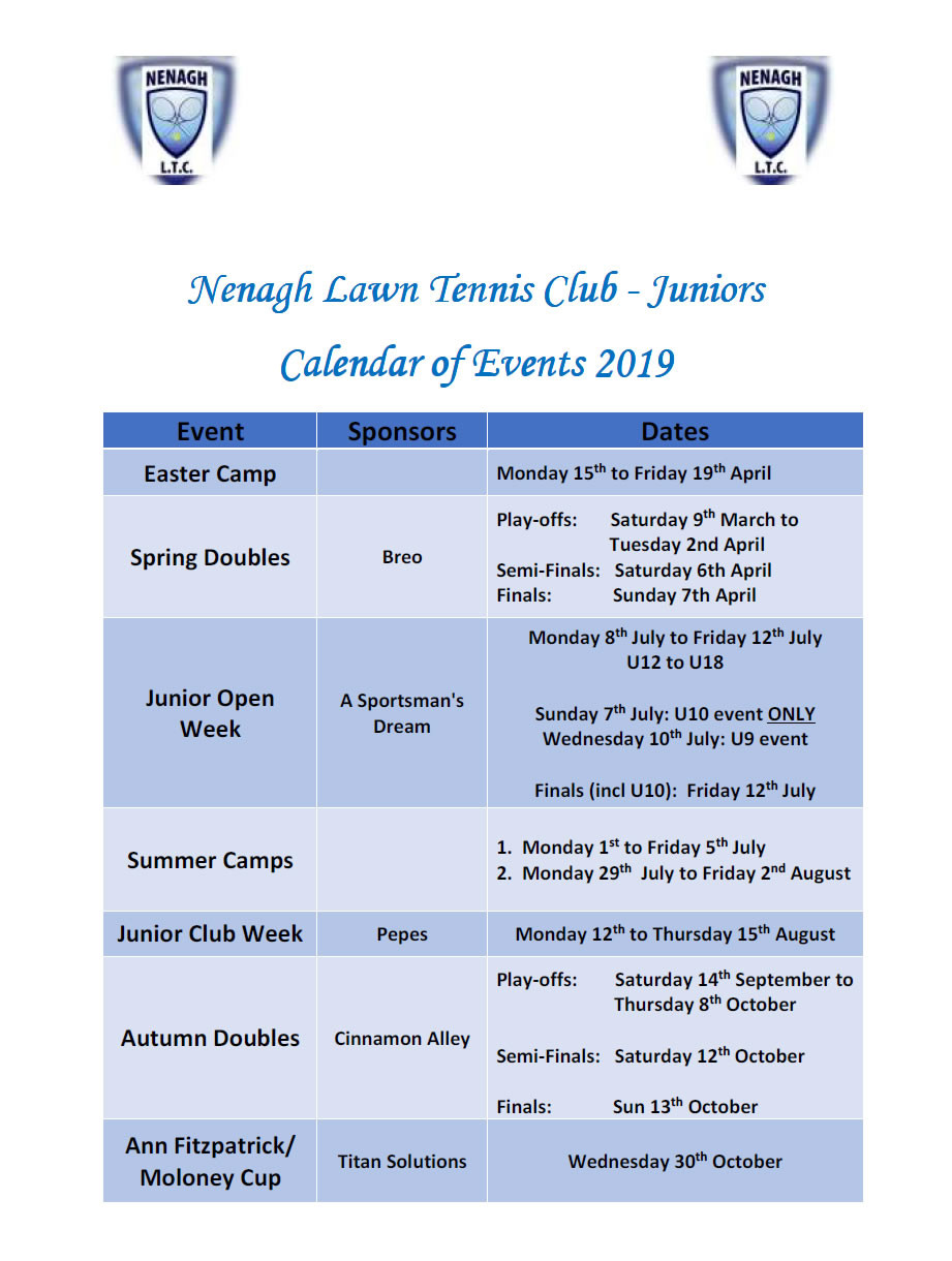 2019 Junior Calendar - Final