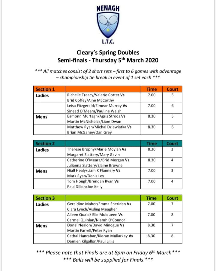 Clearys Spring Doubles Semis Finals 2020